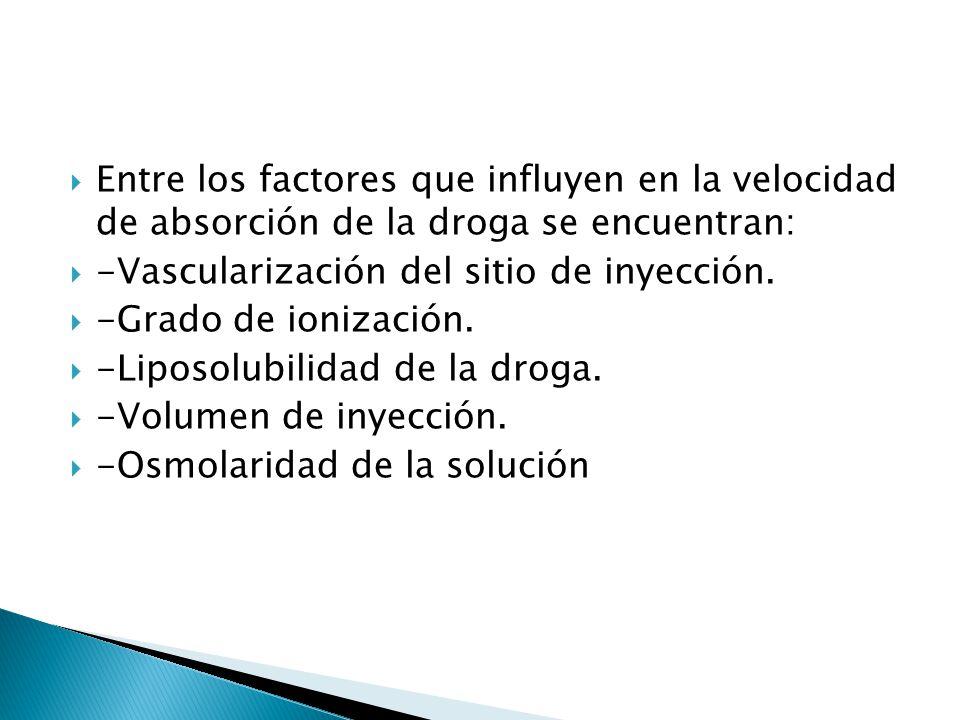 Entre los factores que influyen en la velocidad de absorción de la droga se encuentran: -Vascularización del sitio de inyección. -Grado de ionización.