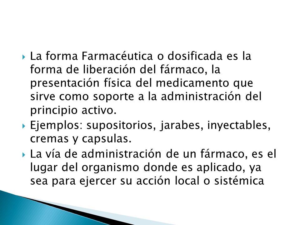 La forma Farmacéutica o dosificada es la forma de liberación del fármaco, la presentación física del medicamento que sirve como soporte a la administr
