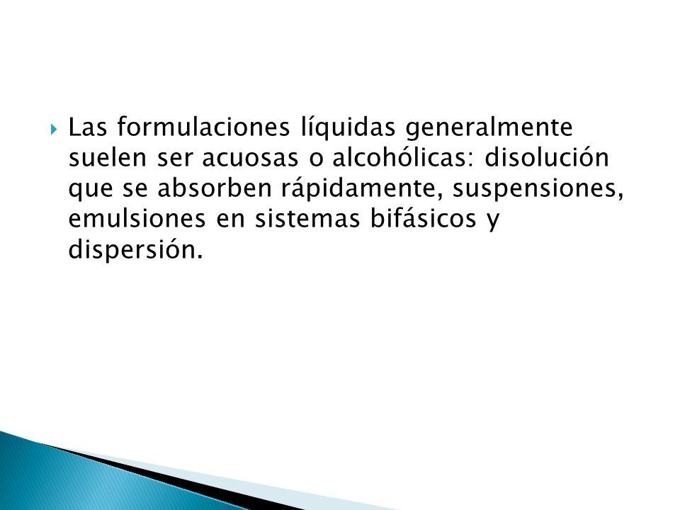 Las formulaciones líquidas generalmente suelen ser acuosas o alcohólicas: disolución que se absorben rápidamente, suspensiones, emulsiones en sistemas