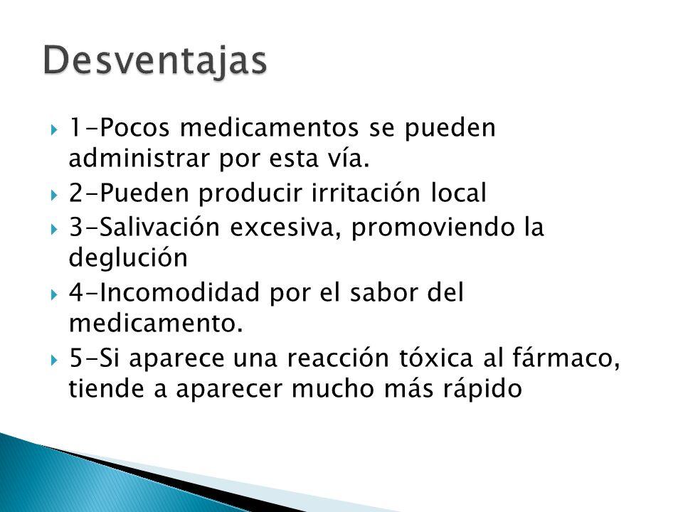 1-Pocos medicamentos se pueden administrar por esta vía. 2-Pueden producir irritación local 3-Salivación excesiva, promoviendo la deglución 4-Incomodi