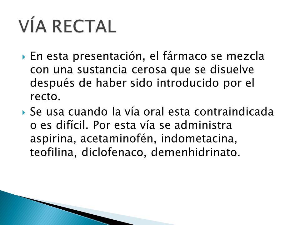 En esta presentación, el fármaco se mezcla con una sustancia cerosa que se disuelve después de haber sido introducido por el recto. Se usa cuando la v