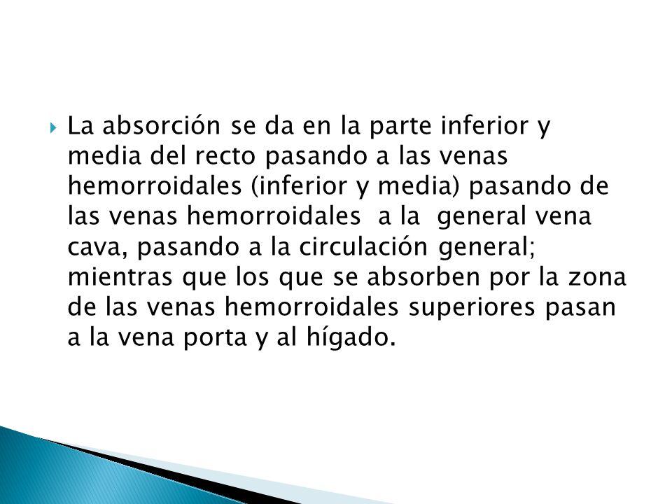 La absorción se da en la parte inferior y media del recto pasando a las venas hemorroidales (inferior y media) pasando de las venas hemorroidales a la