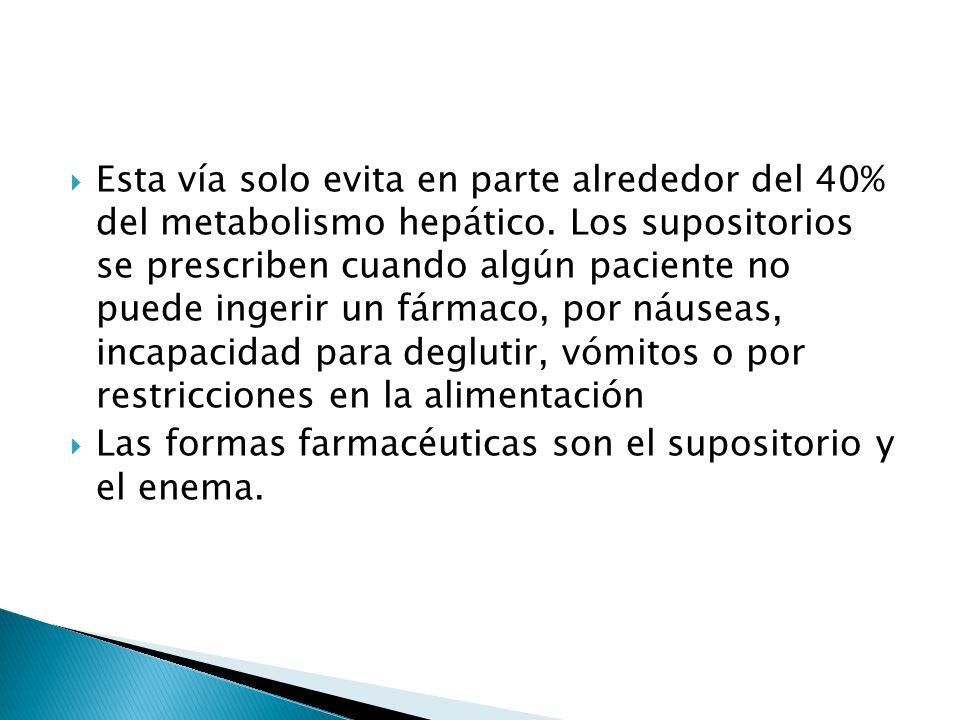 Esta vía solo evita en parte alrededor del 40% del metabolismo hepático. Los supositorios se prescriben cuando algún paciente no puede ingerir un fárm