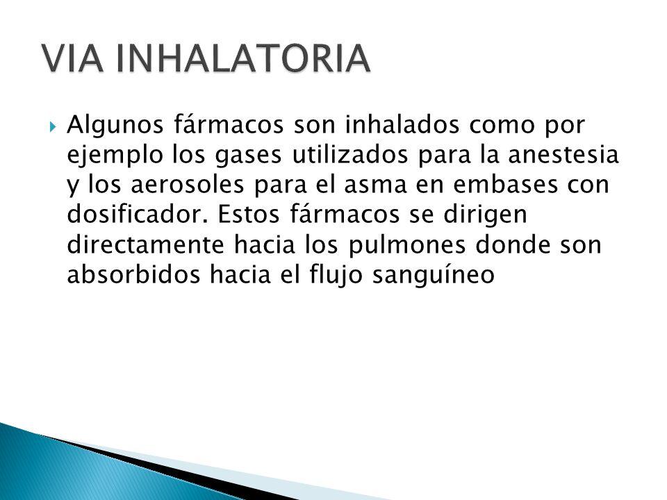 Algunos fármacos son inhalados como por ejemplo los gases utilizados para la anestesia y los aerosoles para el asma en embases con dosificador. Estos