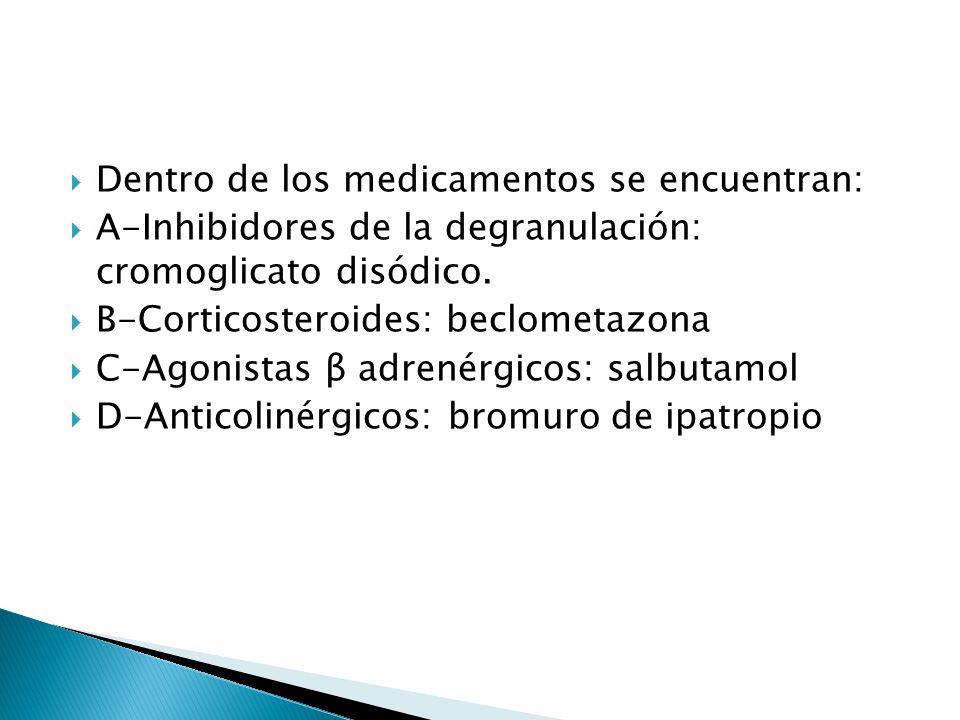 Dentro de los medicamentos se encuentran: A-Inhibidores de la degranulación: cromoglicato disódico. B-Corticosteroides: beclometazona C-Agonistas β ad