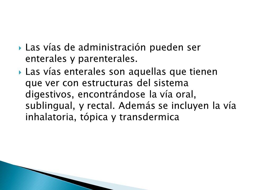 Las vías de administración pueden ser enterales y parenterales. Las vías enterales son aquellas que tienen que ver con estructuras del sistema digesti