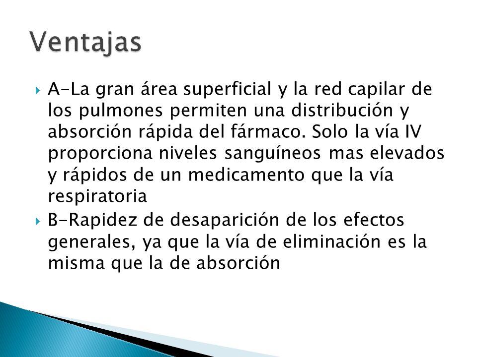 A-La gran área superficial y la red capilar de los pulmones permiten una distribución y absorción rápida del fármaco. Solo la vía IV proporciona nivel