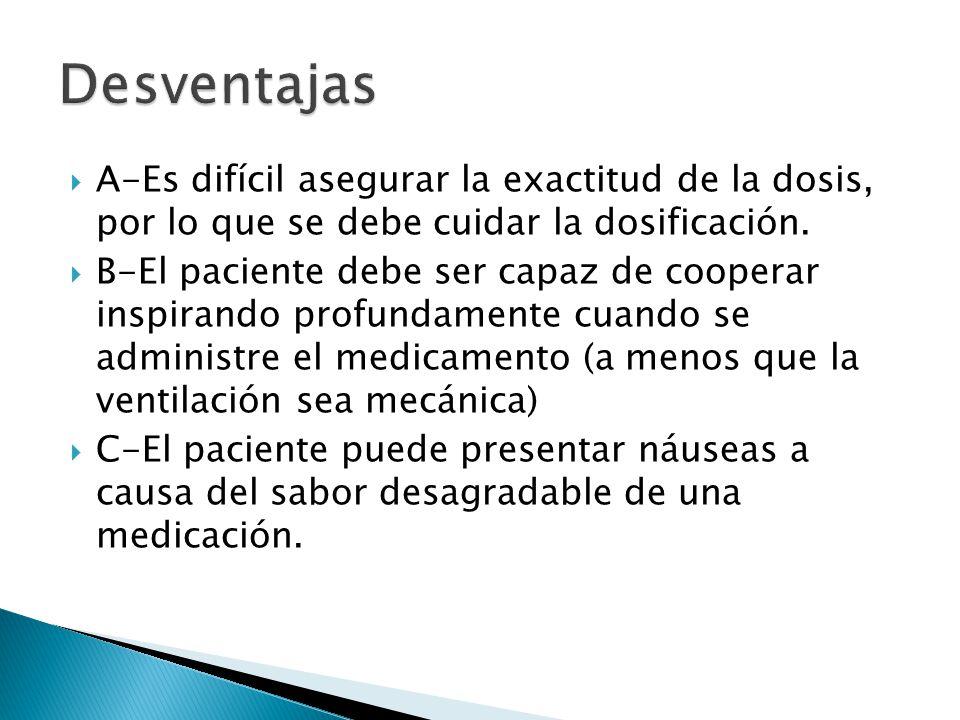 A-Es difícil asegurar la exactitud de la dosis, por lo que se debe cuidar la dosificación. B-El paciente debe ser capaz de cooperar inspirando profund