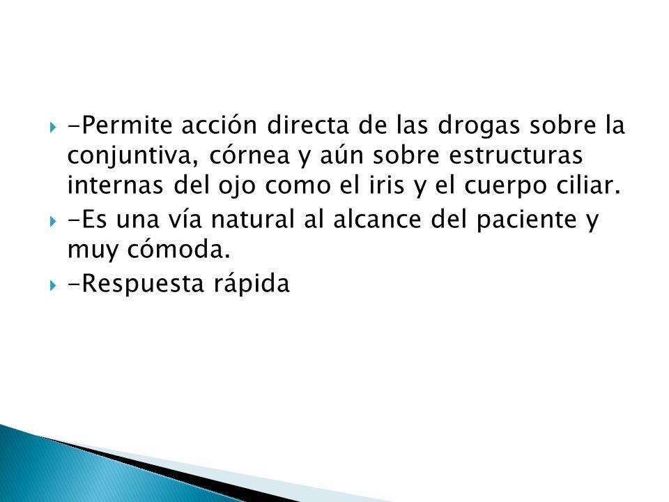 -Permite acción directa de las drogas sobre la conjuntiva, córnea y aún sobre estructuras internas del ojo como el iris y el cuerpo ciliar. -Es una ví