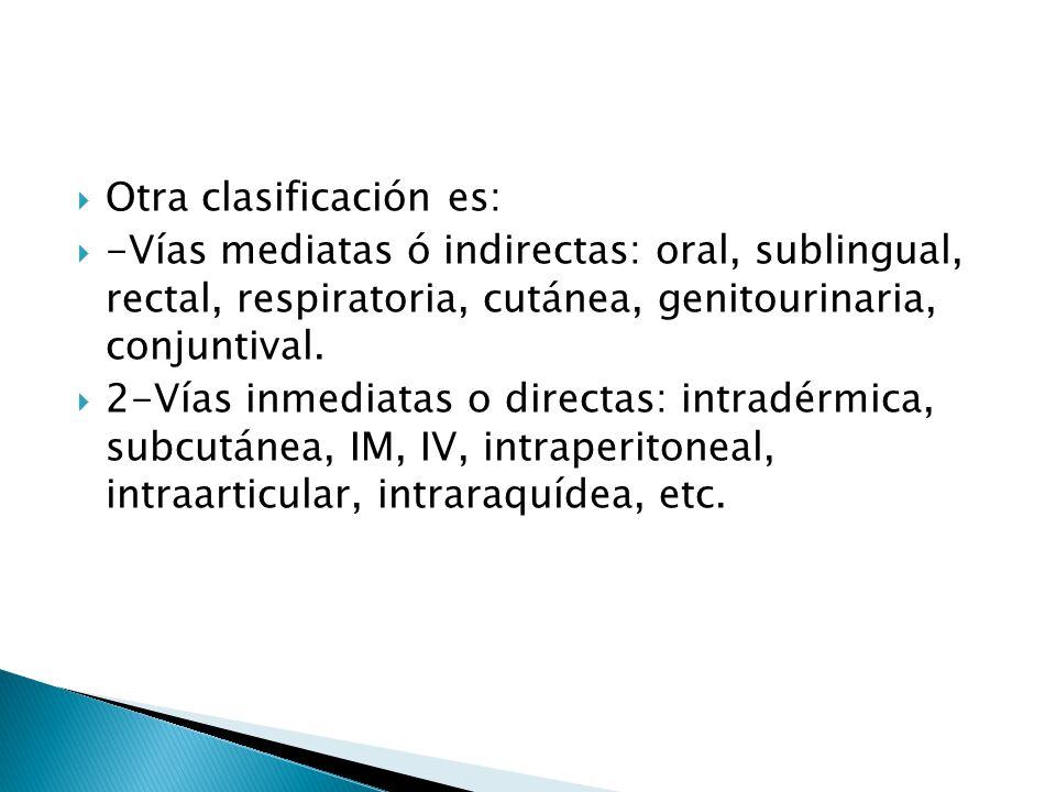 Otra clasificación es: -Vías mediatas ó indirectas: oral, sublingual, rectal, respiratoria, cutánea, genitourinaria, conjuntival. 2-Vías inmediatas o