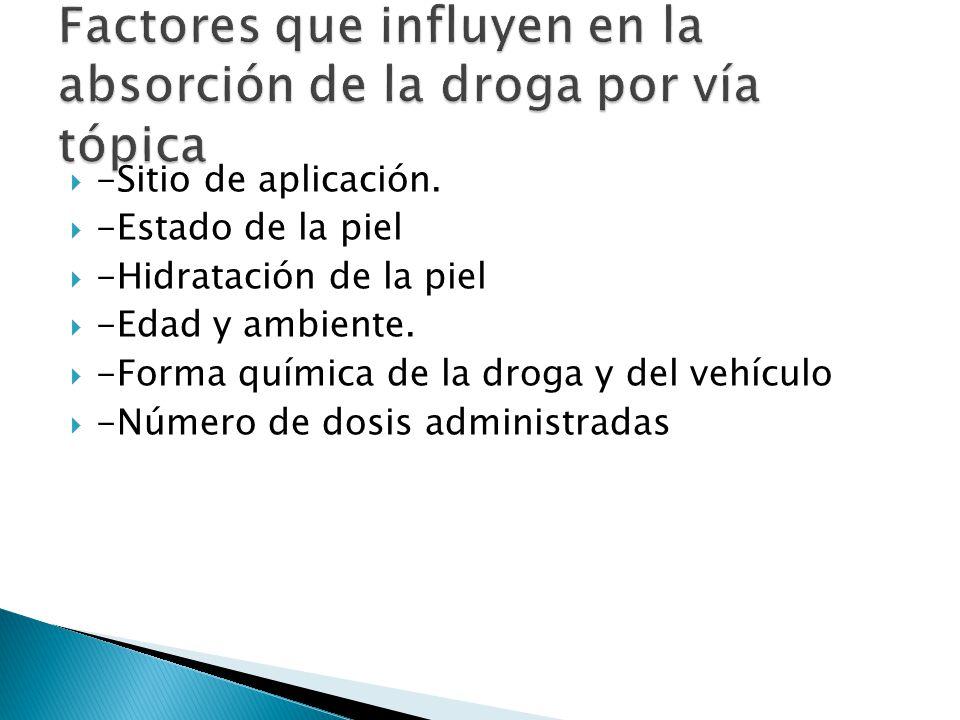 -Sitio de aplicación. -Estado de la piel -Hidratación de la piel -Edad y ambiente. -Forma química de la droga y del vehículo -Número de dosis administ