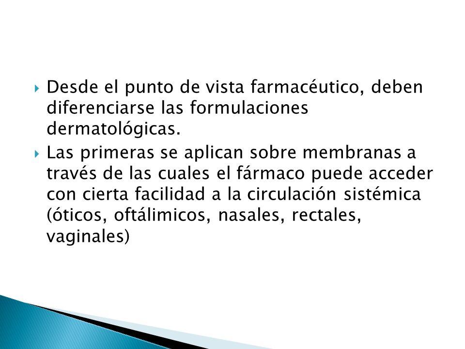 Desde el punto de vista farmacéutico, deben diferenciarse las formulaciones dermatológicas. Las primeras se aplican sobre membranas a través de las cu