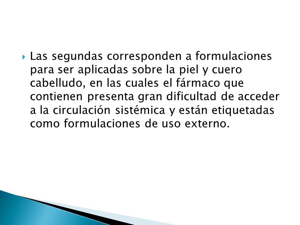 Las segundas corresponden a formulaciones para ser aplicadas sobre la piel y cuero cabelludo, en las cuales el fármaco que contienen presenta gran dif