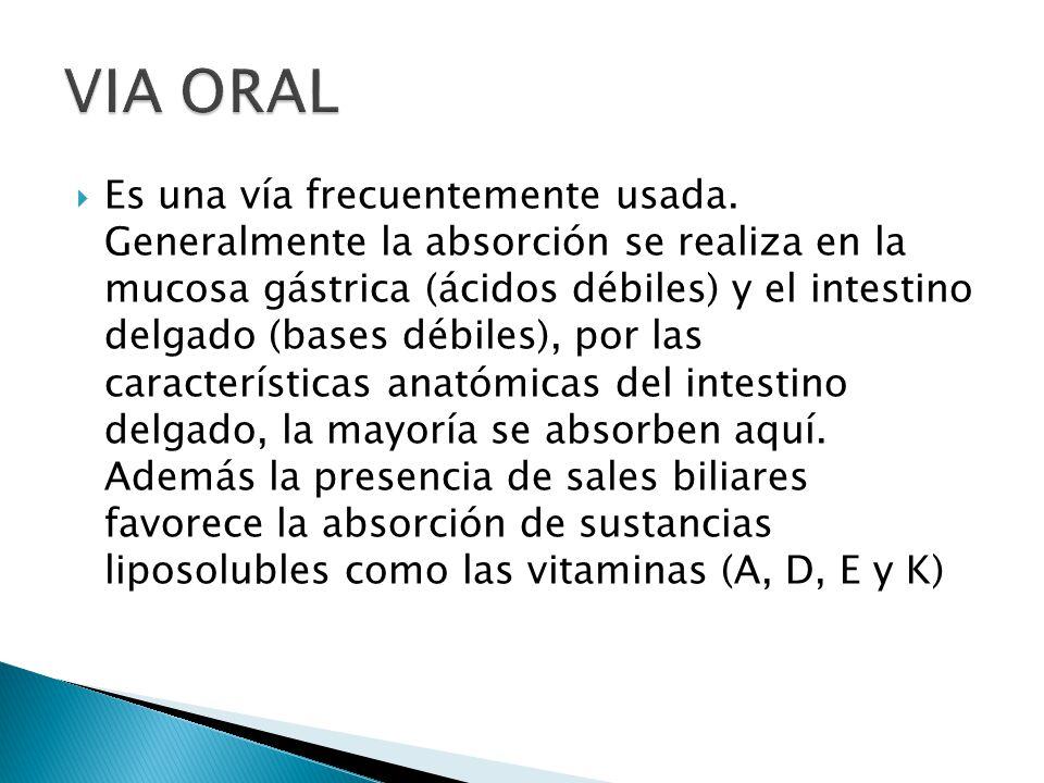 No se administran soluciones oleosas La administración IV rápida garantiza el acceso directo del fármaco inalterado que pasa por el corazón a través de una de las dos venas cavas, donde confluyen todas las venas periféricas que se pueden utilizar para la inyección.