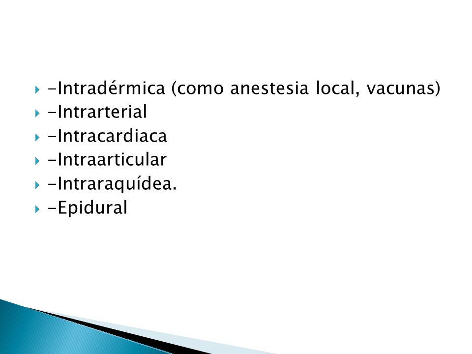 -Intradérmica (como anestesia local, vacunas) -Intrarterial -Intracardiaca -Intraarticular -Intraraquídea. -Epidural