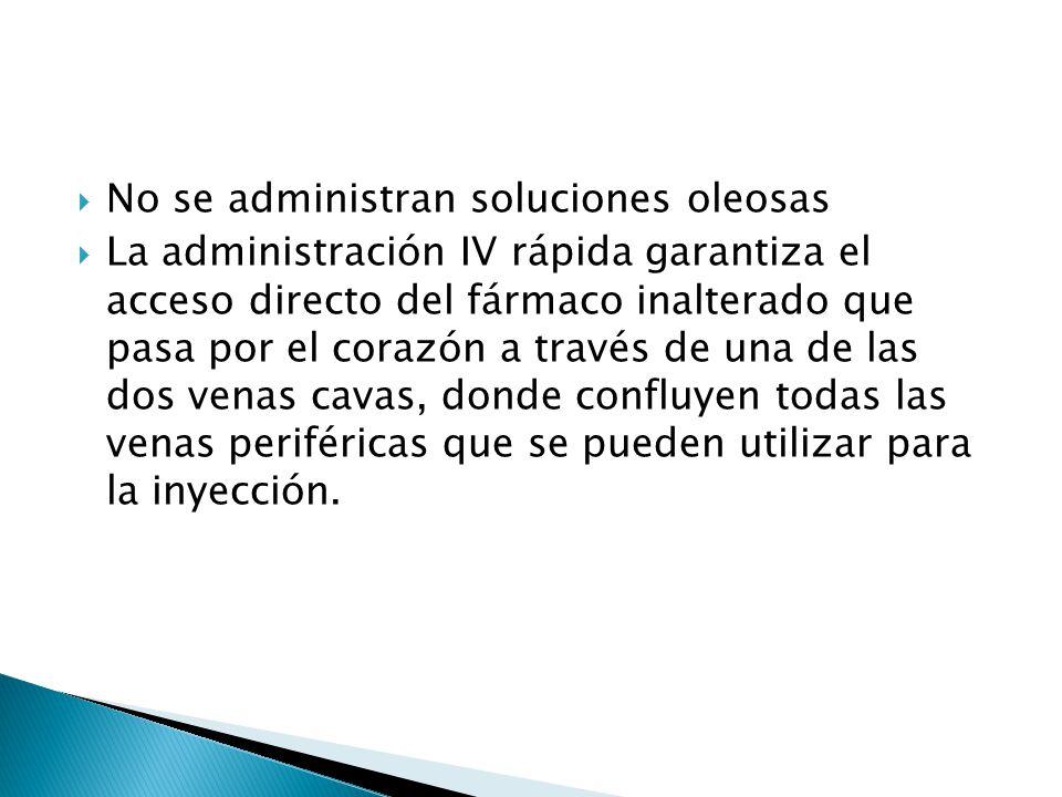 No se administran soluciones oleosas La administración IV rápida garantiza el acceso directo del fármaco inalterado que pasa por el corazón a través d