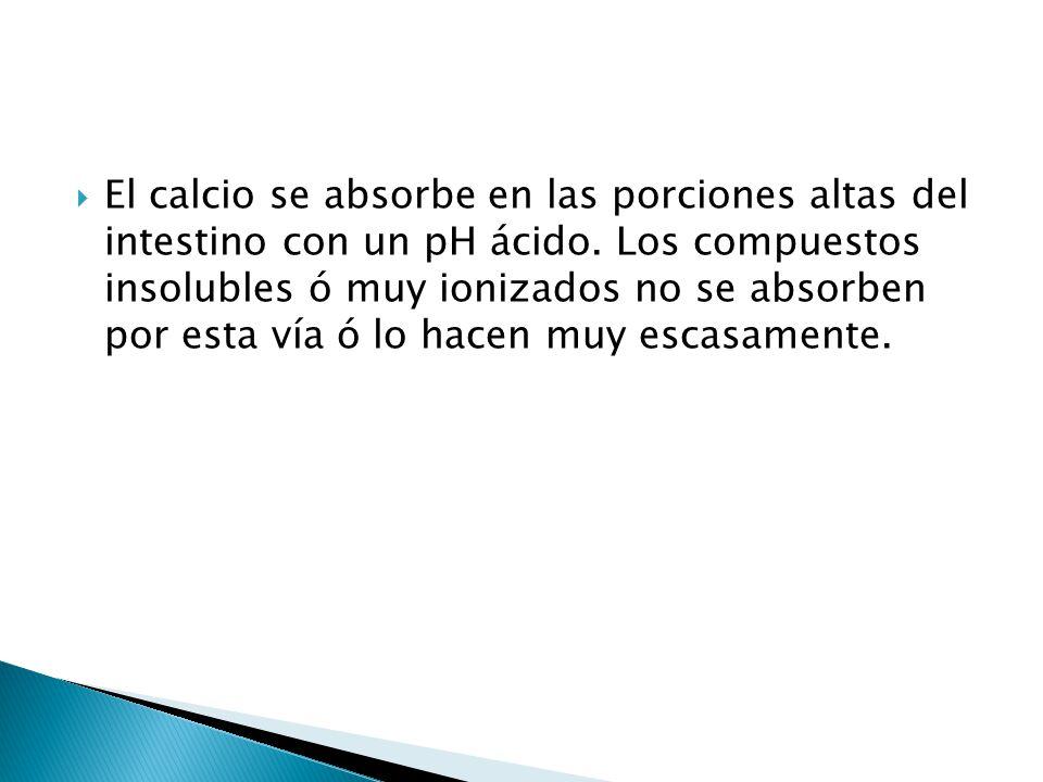El calcio se absorbe en las porciones altas del intestino con un pH ácido. Los compuestos insolubles ó muy ionizados no se absorben por esta vía ó lo
