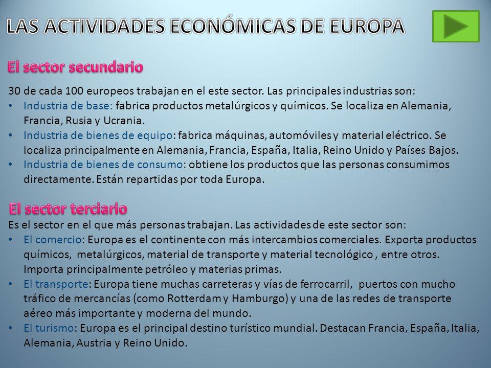 30 de cada 100 europeos trabajan en el este sector.