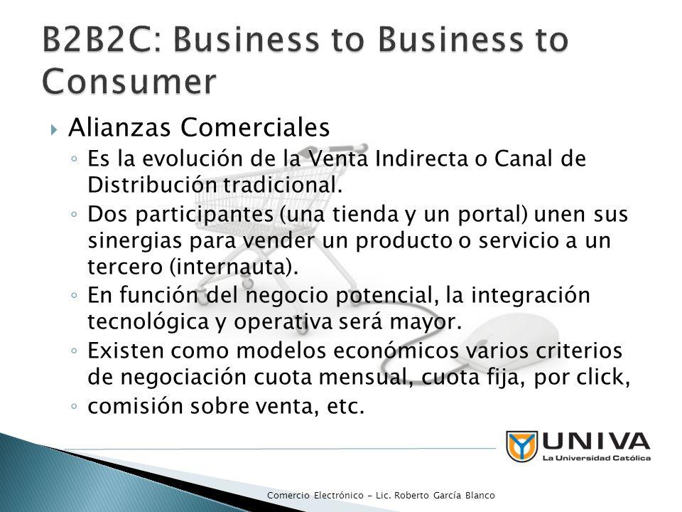 Alianzas Comerciales Es la evolución de la Venta Indirecta o Canal de Distribución tradicional. Dos participantes (una tienda y un portal) unen sus si