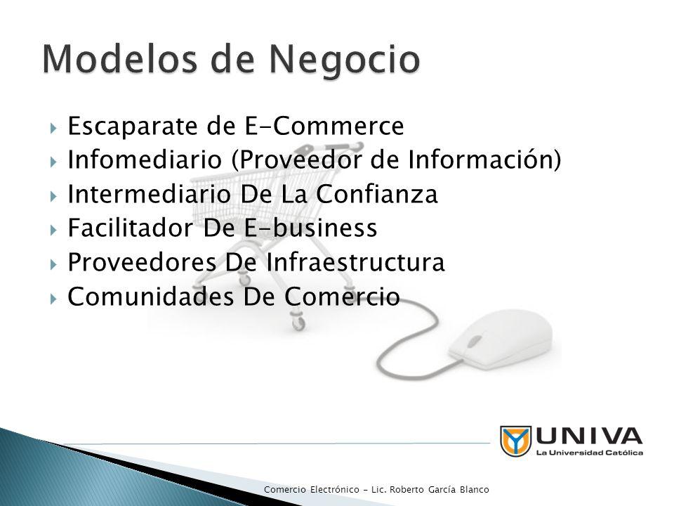 Escaparate de E-Commerce Infomediario (Proveedor de Información) Intermediario De La Confianza Facilitador De E-business Proveedores De Infraestructur