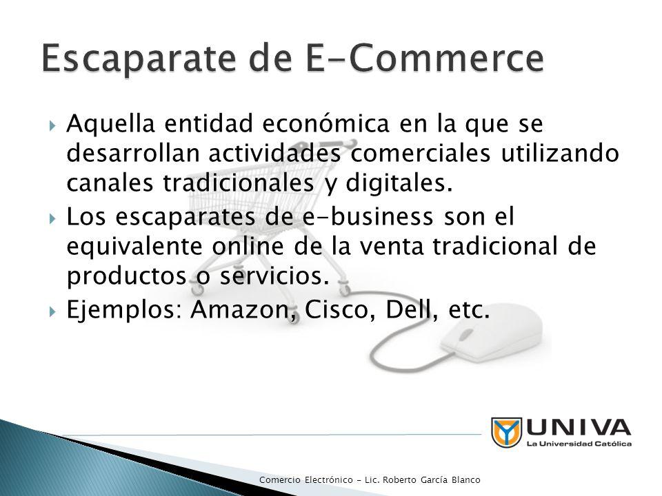 Aquella entidad económica en la que se desarrollan actividades comerciales utilizando canales tradicionales y digitales. Los escaparates de e-business