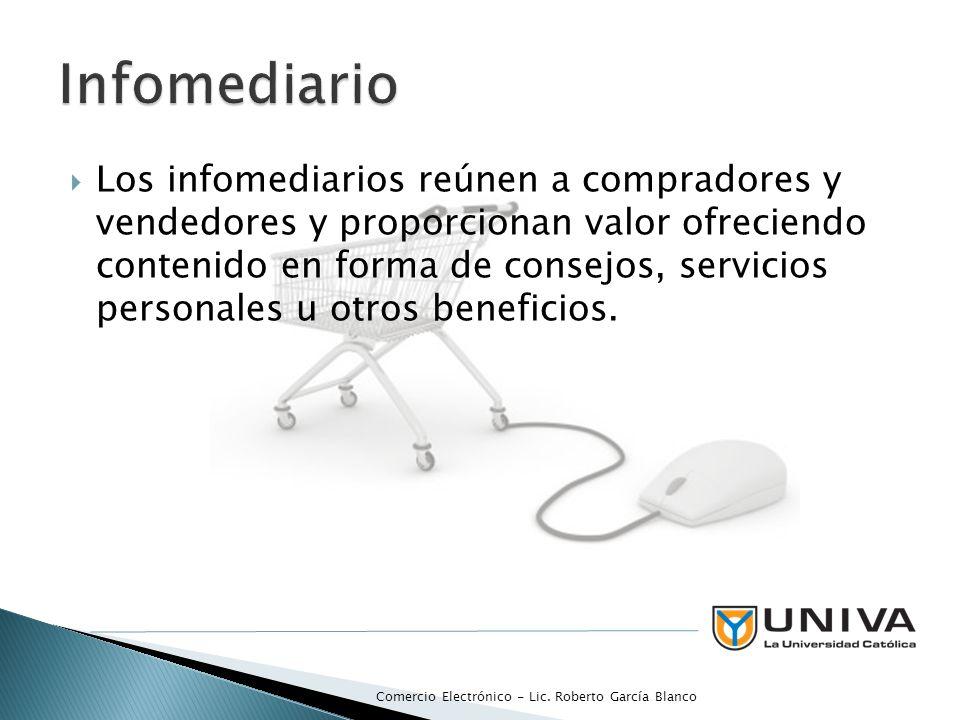 Los infomediarios reúnen a compradores y vendedores y proporcionan valor ofreciendo contenido en forma de consejos, servicios personales u otros benef