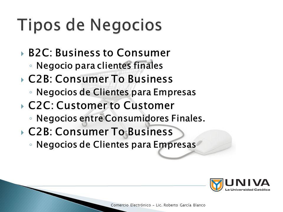 B2B: Business to Business Negocios entre empresas B2B2C: Business to Business to Consumer Negócios de Empresas entre Empresas para Clientes Finales Comercio Electrónico - Lic.