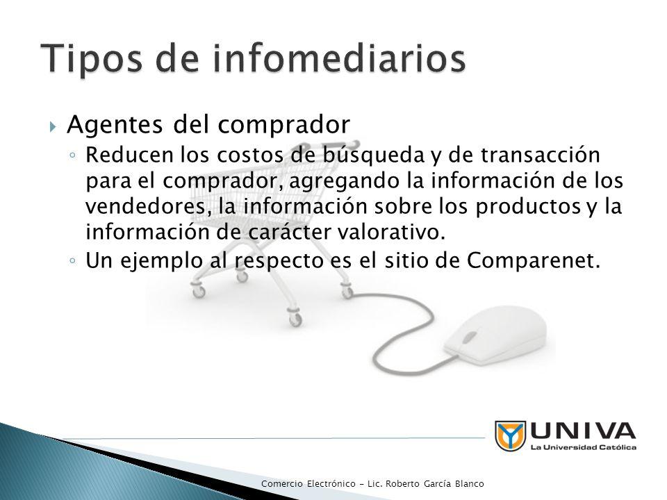 Agentes del comprador Reducen los costos de búsqueda y de transacción para el comprador, agregando la información de los vendedores, la información sobre los productos y la información de carácter valorativo.