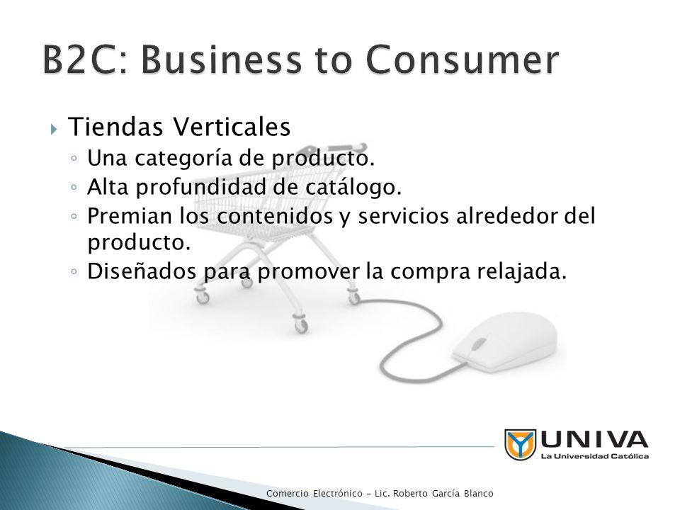 Tiendas Verticales Una categoría de producto. Alta profundidad de catálogo. Premian los contenidos y servicios alrededor del producto. Diseñados para