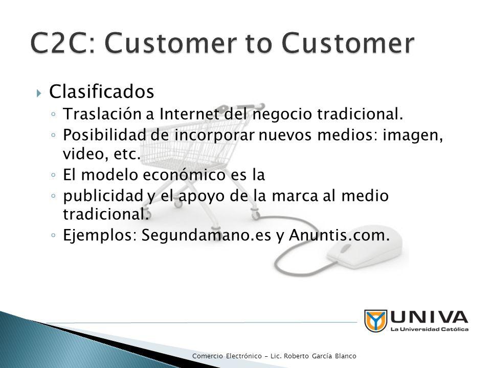 Clasificados Traslación a Internet del negocio tradicional. Posibilidad de incorporar nuevos medios: imagen, video, etc. El modelo económico es la pub