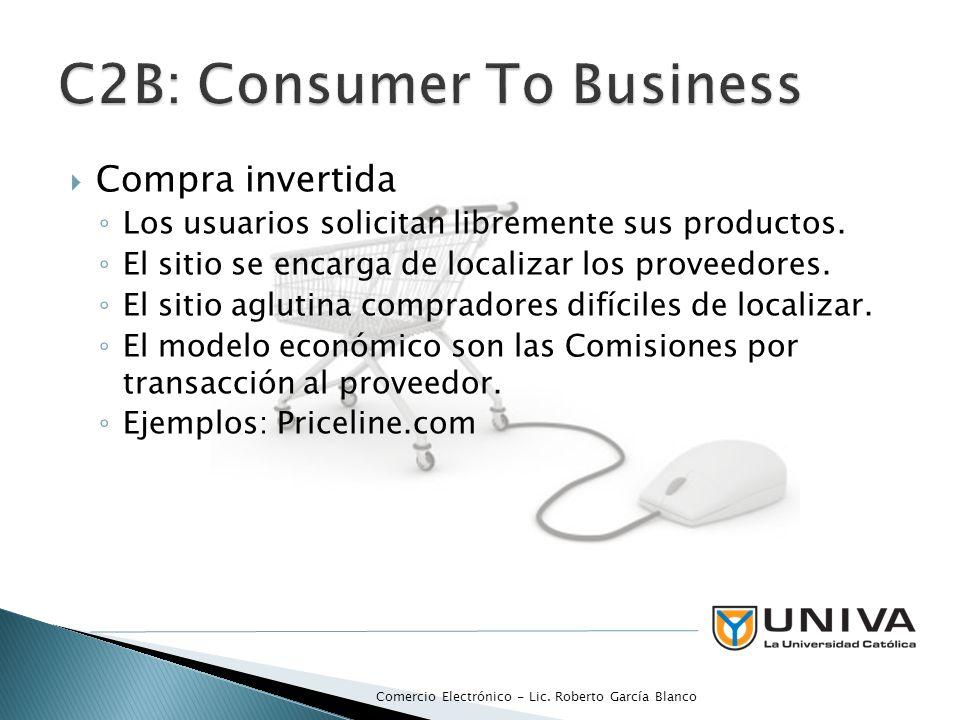 Compra invertida Los usuarios solicitan libremente sus productos. El sitio se encarga de localizar los proveedores. El sitio aglutina compradores difí