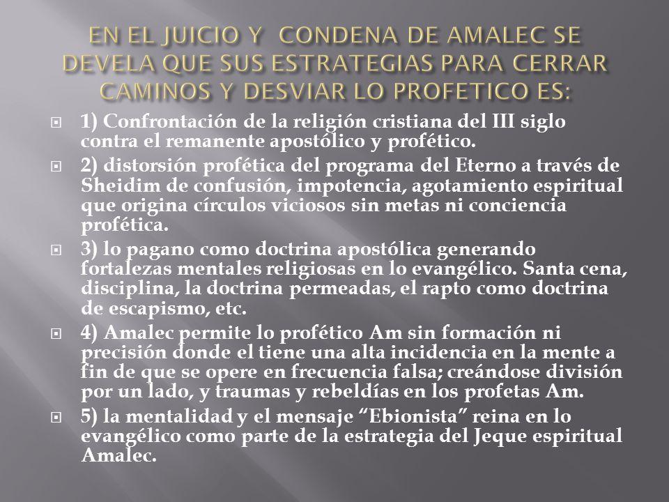 6) la ausencia de mensaje y trabajo sobre la restauración familiar es estrategia de Amalec ya que ese es el diseño original de YHWH.