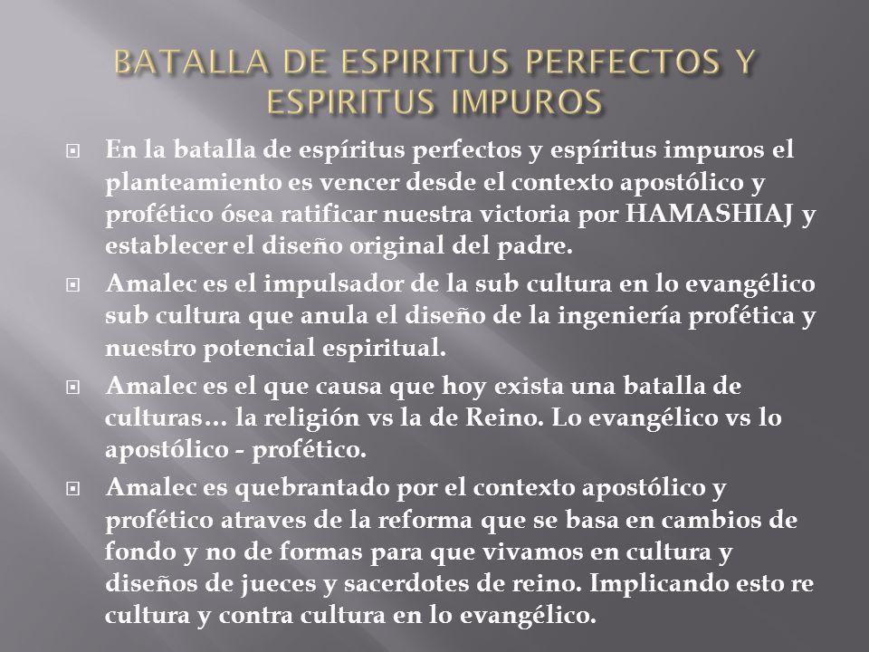 En la batalla de espíritus perfectos y espíritus impuros el planteamiento es vencer desde el contexto apostólico y profético ósea ratificar nuestra vi