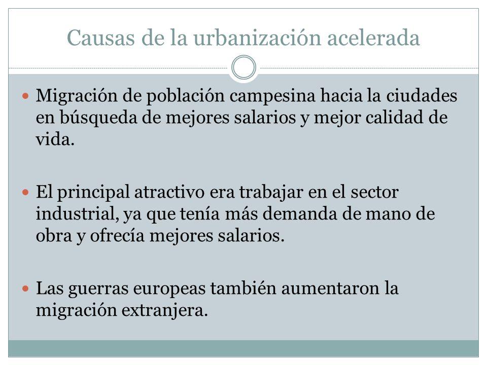 Causas de la urbanización acelerada Migración de población campesina hacia la ciudades en búsqueda de mejores salarios y mejor calidad de vida. El pri