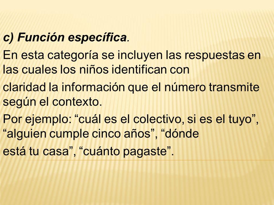 c) Función específica. En esta categoría se incluyen las respuestas en las cuales los niños identifican con claridad la información que el número tran