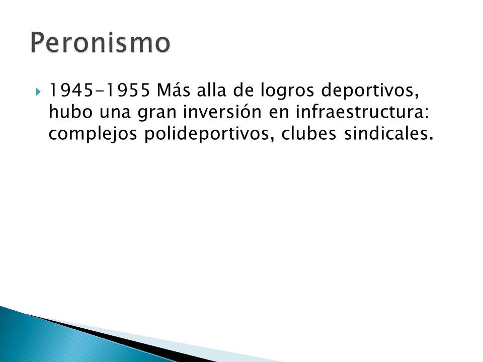 1945-1955 Más alla de logros deportivos, hubo una gran inversión en infraestructura: complejos polideportivos, clubes sindicales.