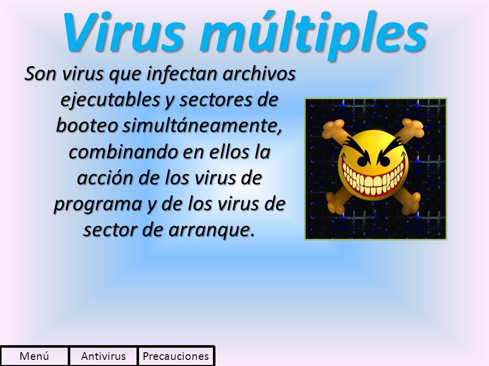 Virus múltiples Son virus que infectan archivos ejecutables y sectores de booteo simultáneamente, combinando en ellos la acción de los virus de progra