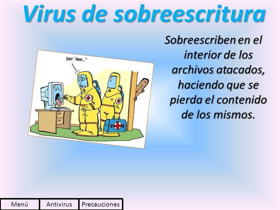 Virus de sobreescritura Sobreescriben en el interior de los archivos atacados, haciendo que se pierda el contenido de los mismos. PrecaucionesAntiviru