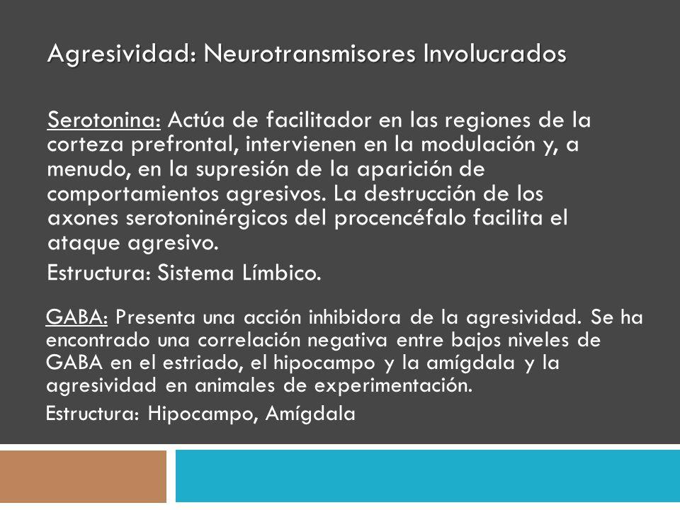 Agresividad: Neurotransmisores Involucrados Serotonina: Actúa de facilitador en las regiones de la corteza prefrontal, intervienen en la modulación y,
