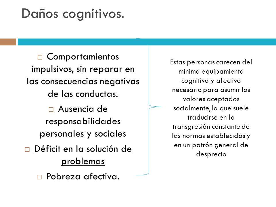 Daños cognitivos. Comportamientos impulsivos, sin reparar en las consecuencias negativas de las conductas. Ausencia de responsabilidades personales y