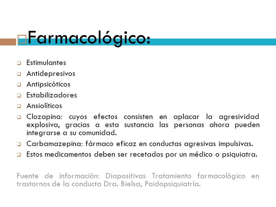 Farmacológico: Estimulantes Antidepresivos Antipsicóticos Estabilizadores Ansiolíticos Clozapina: cuyos efectos consisten en aplacar la agresividad ex
