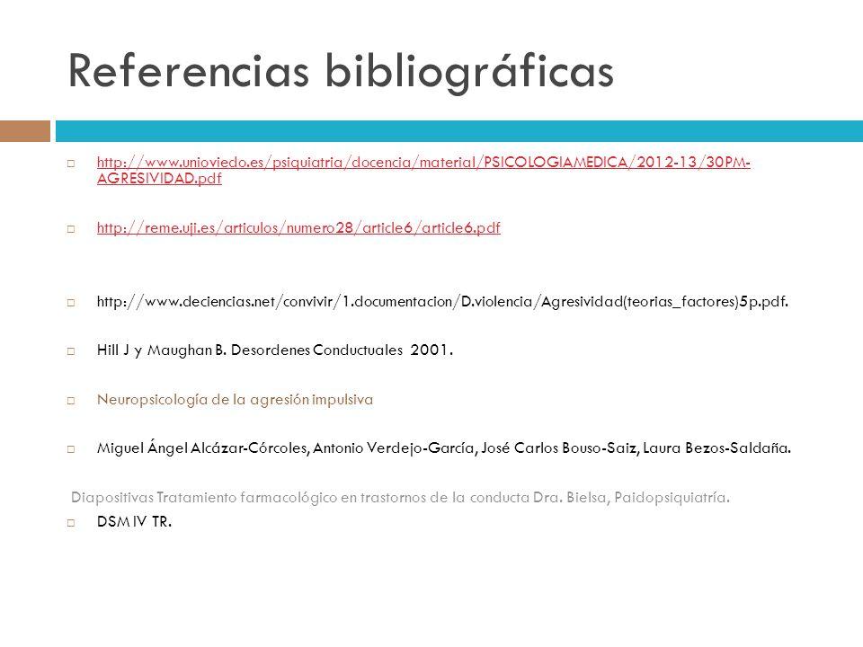 Referencias bibliográficas http://www.unioviedo.es/psiquiatria/docencia/material/PSICOLOGIAMEDICA/2012-13/30PM- AGRESIVIDAD.pdf http://www.unioviedo.e
