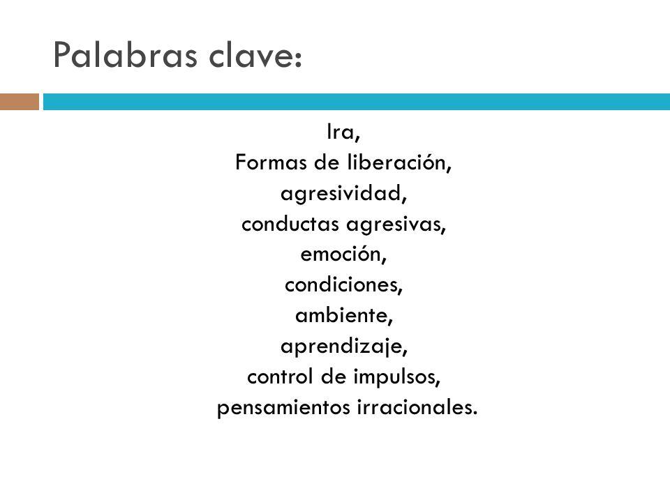 Palabras clave: Ira, Formas de liberación, agresividad, conductas agresivas, emoción, condiciones, ambiente, aprendizaje, control de impulsos, pensami