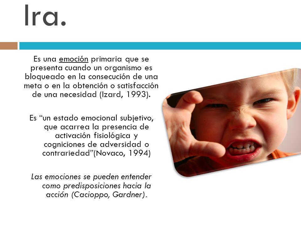 Ira. Es una emoción primaria que se presenta cuando un organismo es bloqueado en la consecución de una meta o en la obtención o satisfacción de una ne