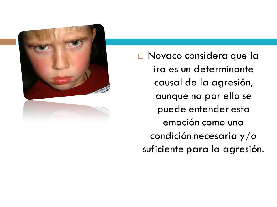 Novaco considera que la ira es un determinante causal de la agresión, aunque no por ello se puede entender esta emoción como una condición necesaria y