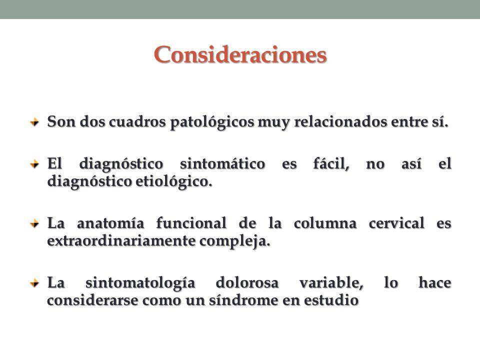 Consideraciones Son dos cuadros patológicos muy relacionados entre sí. El diagnóstico sintomático es fácil, no así el diagnóstico etiológico. La anato