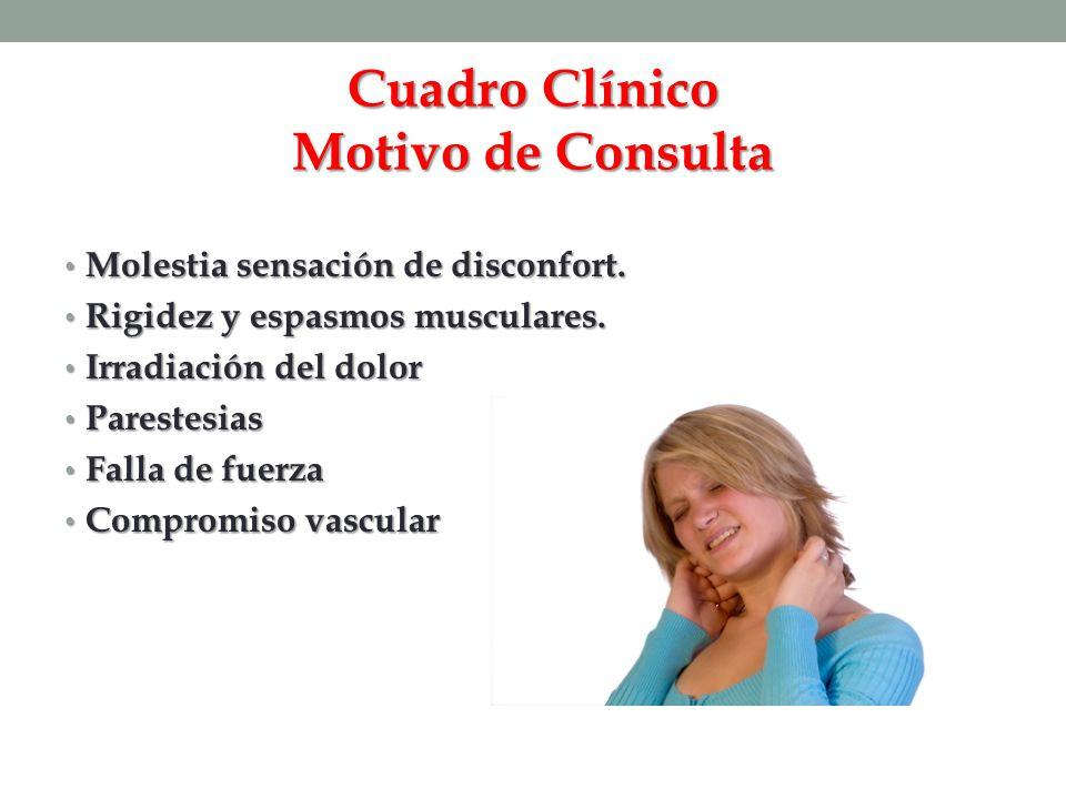 Cuadro Clínico Motivo de Consulta Molestia sensación de disconfort. Molestia sensación de disconfort. Rigidez y espasmos musculares. Rigidez y espasmo