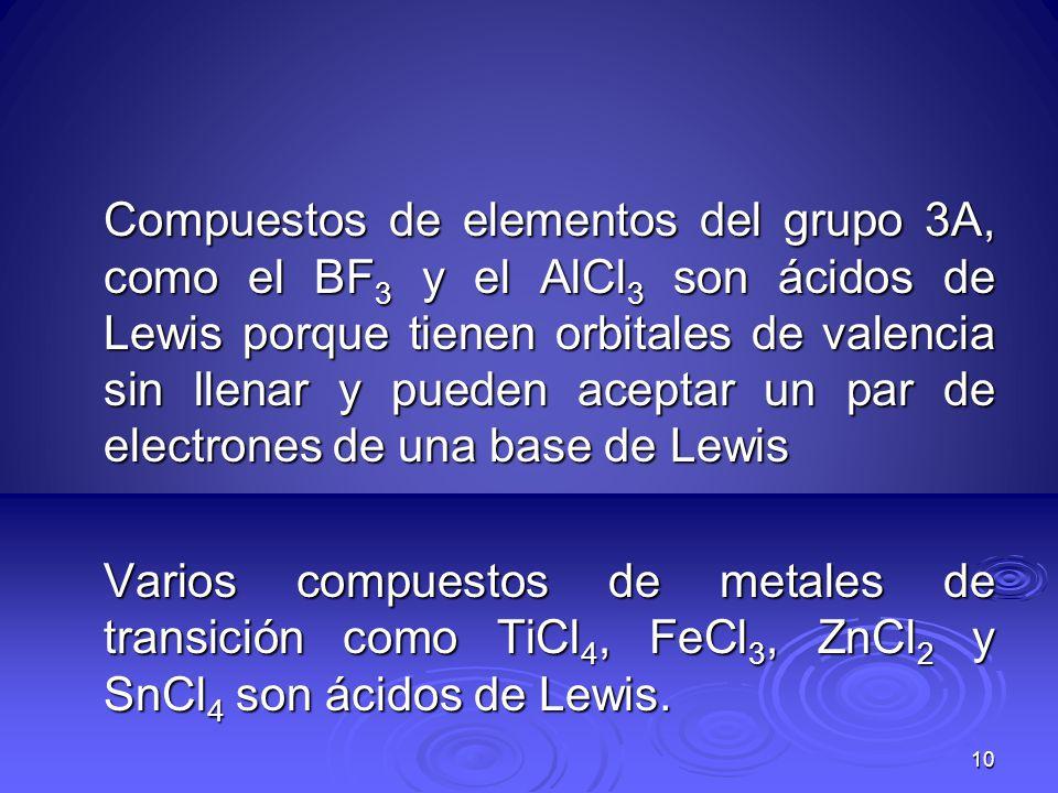 Compuestos de elementos del grupo 3A, como el BF 3 y el AlCl 3 son ácidos de Lewis porque tienen orbitales de valencia sin llenar y pueden aceptar un