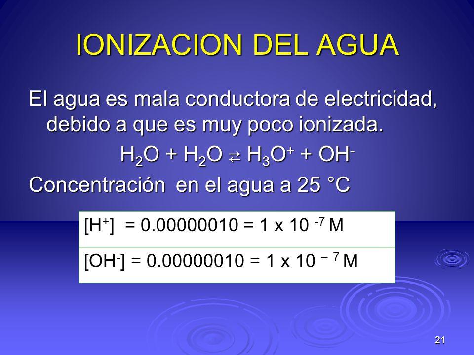 21 IONIZACION DEL AGUA El agua es mala conductora de electricidad, debido a que es muy poco ionizada. H 2 O + H 2 O H 3 O + + OH - Concentración en el