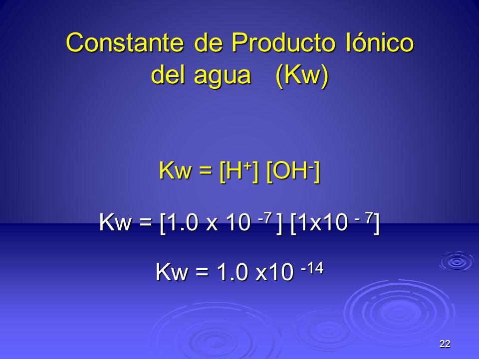 22 Constante de Producto Iónico del agua (Kw) Kw = [H + ] [OH - ] Kw = [1.0 x 10 -7 ] [1x10 - 7 ] Kw = 1.0 x10 -14
